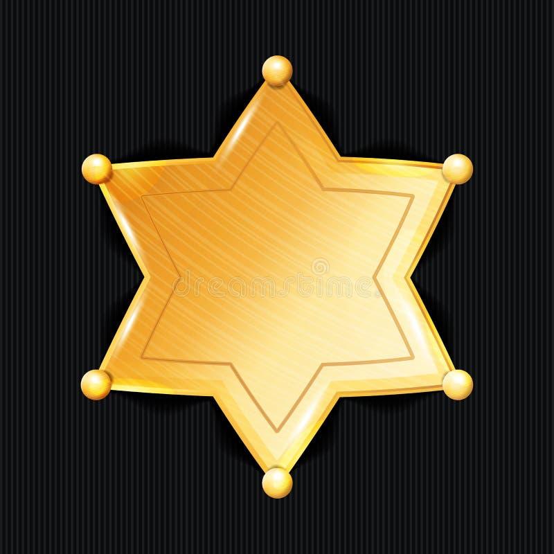Sceriffo Badge Star Vector Simbolo classico Dipartimento municipale di applicazione di legge della città illustrazione vettoriale