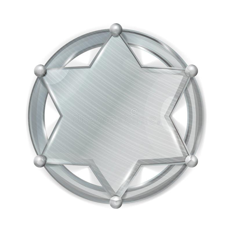 Sceriffo Badge Star Vector Spazio in bianco realistico dello sceriffo Badge Star del metallo royalty illustrazione gratis