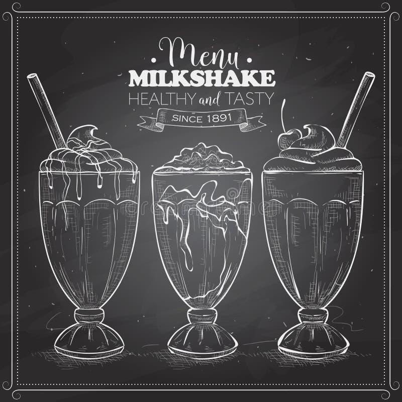 Scetch των επιλογών milkshake σε έναν μαύρο πίνακα διανυσματική απεικόνιση