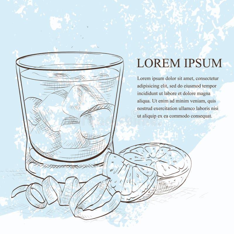 Scetch alcohólico del cóctel de Negroni stock de ilustración