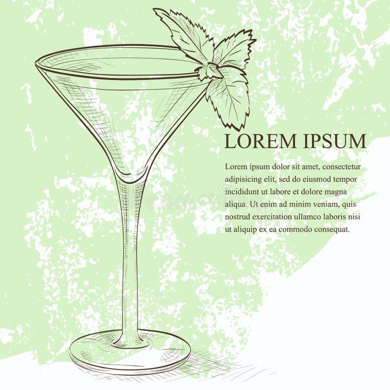 Scetch alcolico del cocktail della cavalletta illustrazione di stock