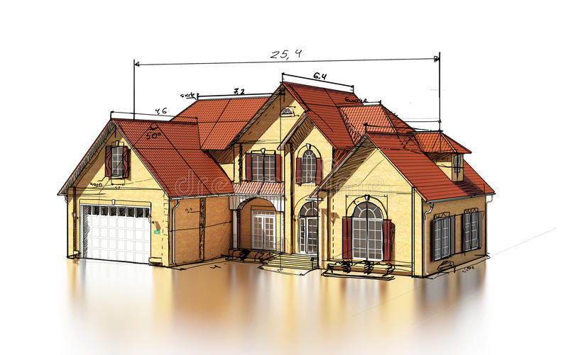 Download Scetch brick house stock illustration. Image of housing - 25415712