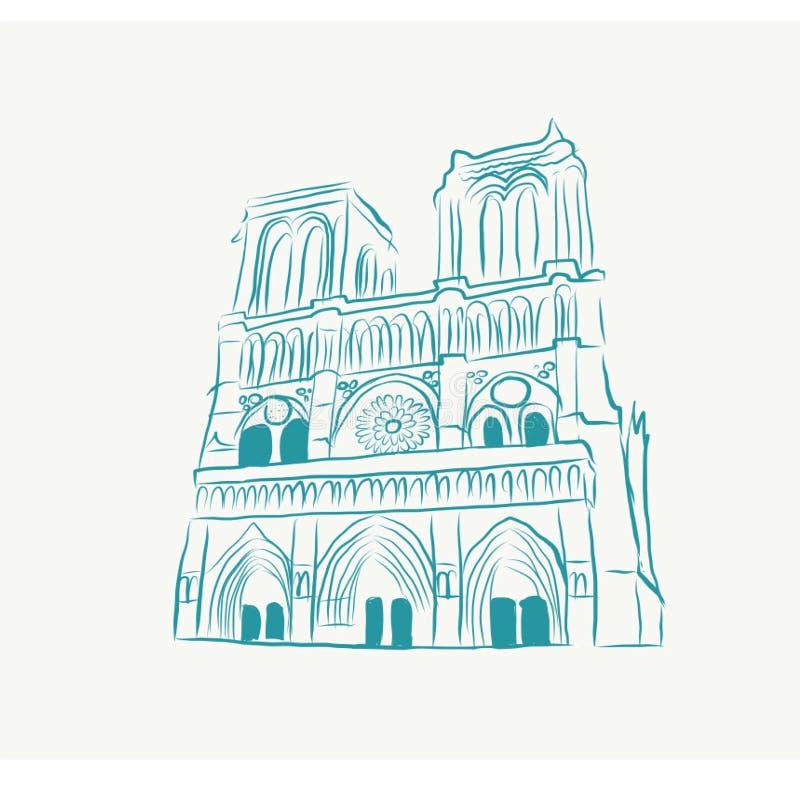 scetch colorato del blu di Parigi della Notre-diga illustrazione vettoriale