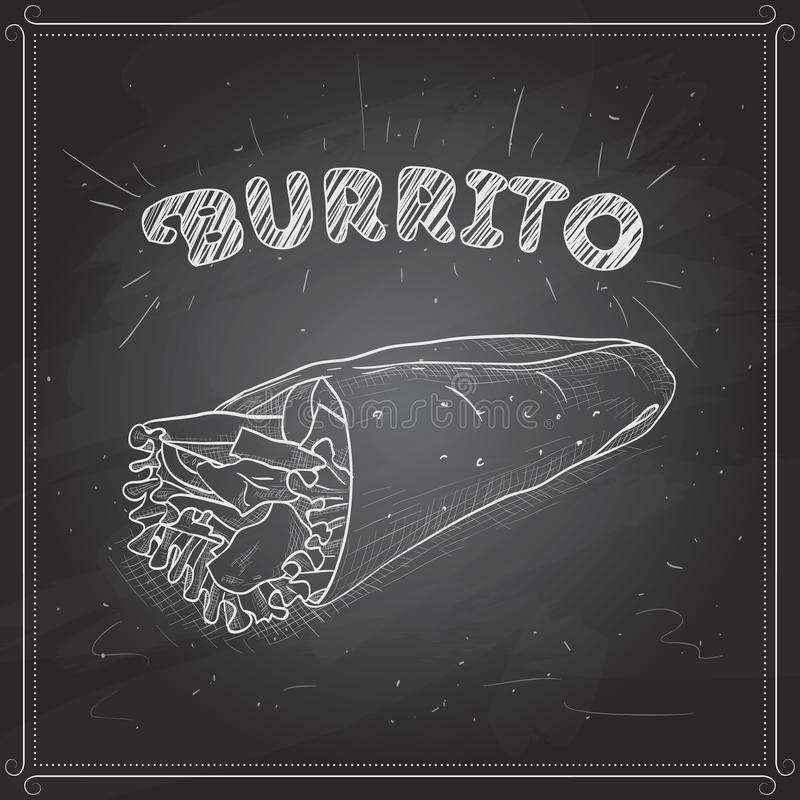 Scetch de Burrito sur un conseil noir illustration stock