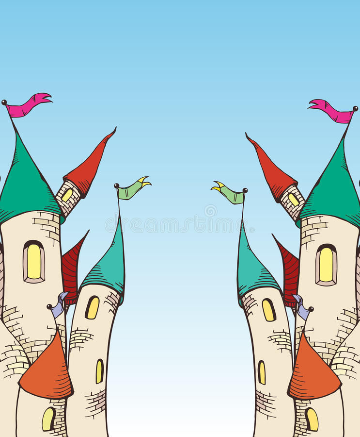 Scetch de château de deux cartoom images libres de droits