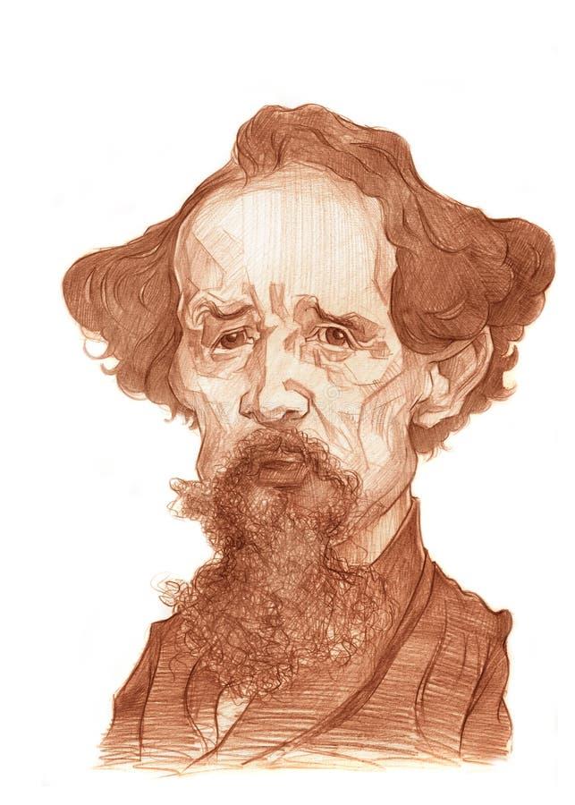 Scetch de Charles Dickens ilustração royalty free