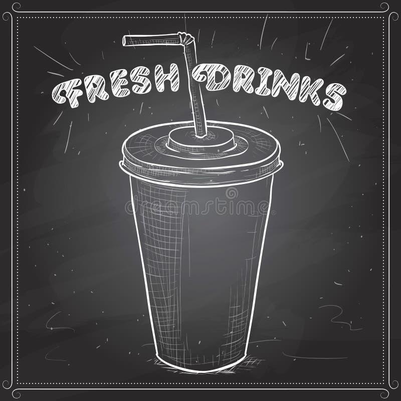 Scetch de tasse de kola sur un conseil noir illustration stock