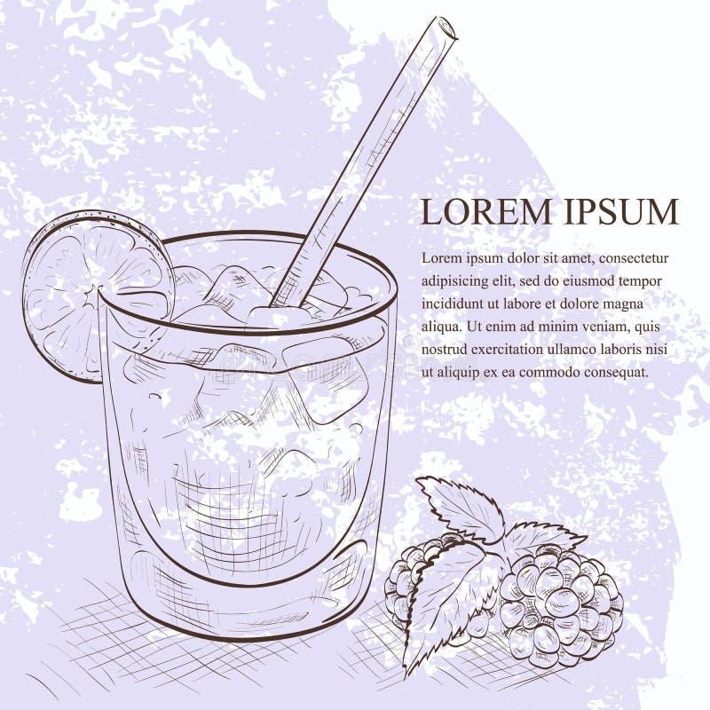 Scetch della mora del cocktail illustrazione vettoriale
