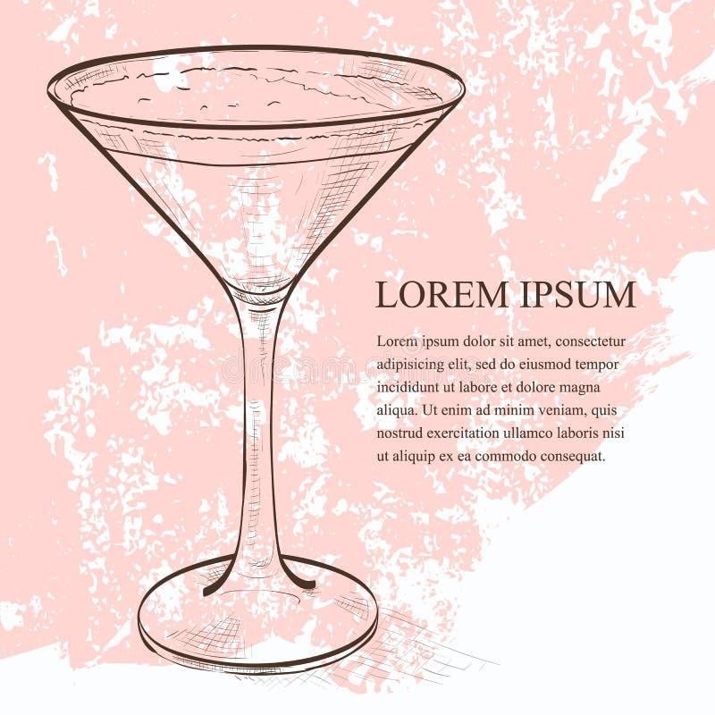 Scetch di Martini del caffè espresso del cocktail royalty illustrazione gratis