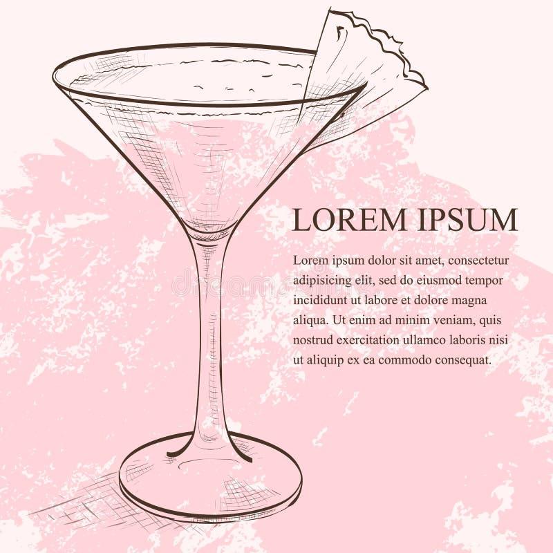 Scetch di Mary Pickford del cocktail illustrazione vettoriale