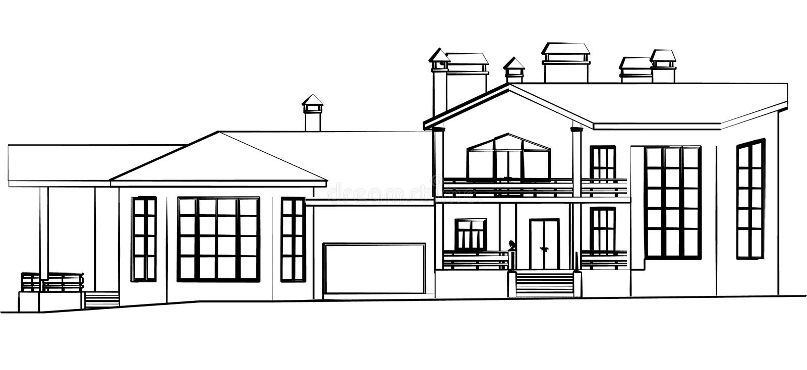 Scetch Of A House Stock Photography