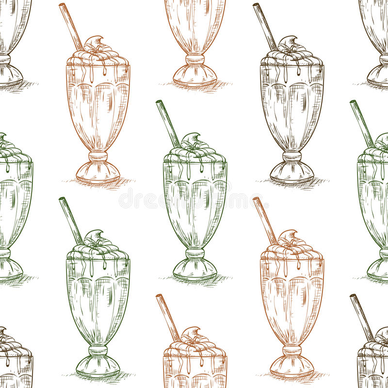 Scetch sem emenda do milk shake do chocolate do teste padrão ilustração stock