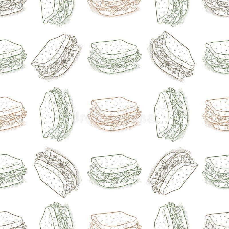 Scetch sem emenda do sanduíche do teste padrão ilustração royalty free