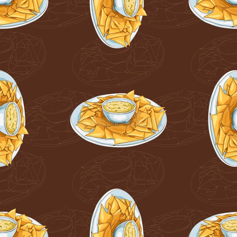 Scetch senza cuciture dei nacho del modello su fondo scuro illustrazione di stock