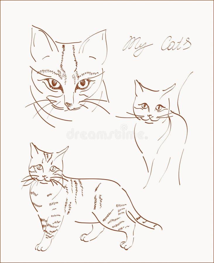Scetchs van kat stock illustratie