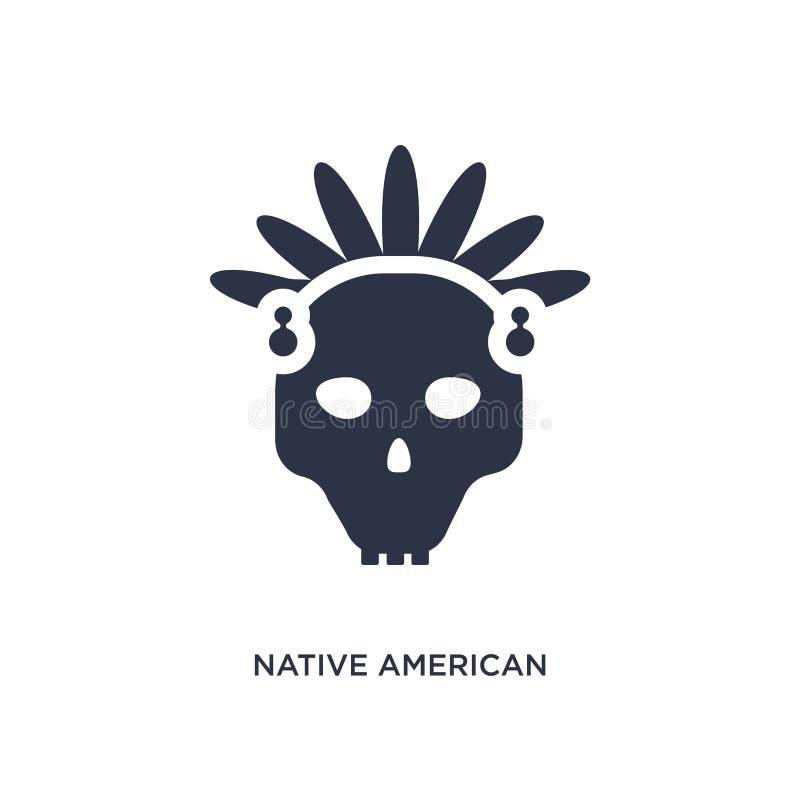 Schädelikone des amerikanischen Ureinwohners auf weißem Hintergrund Einfache Elementillustration vom Kulturkonzept lizenzfreie abbildung