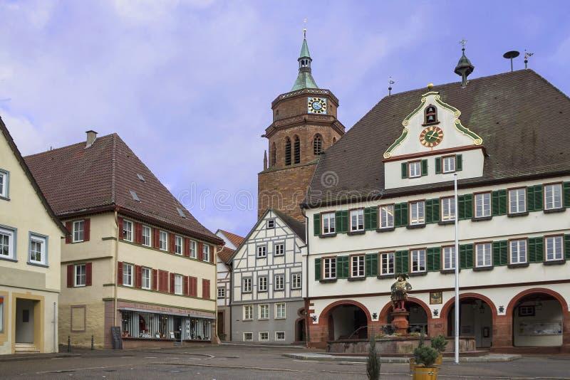 Schöne alte deutsche Stadt oder Großstadt nahe Stuttgart Weil Der Stadt, Deutschland lizenzfreie stockbilder