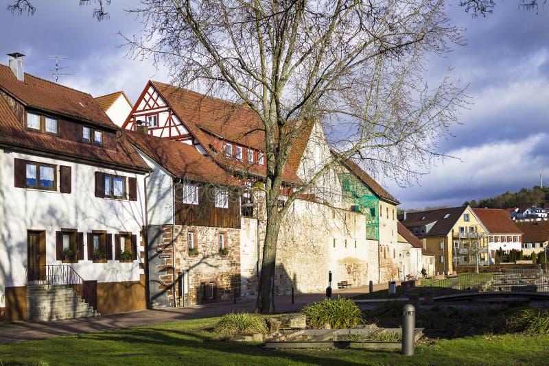 Schöne alte deutsche Stadt oder Großstadt nahe Stuttgart Weil Der Stadt, Deutschland lizenzfreie stockfotos