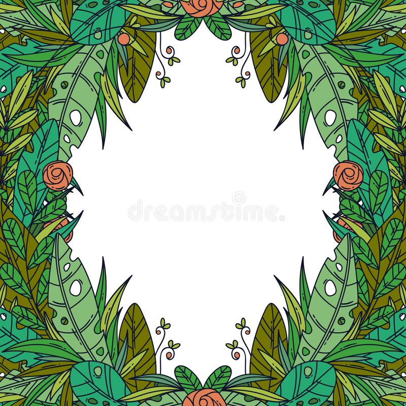 Schöne Grußkarte mit Blumenkarikaturrahmen lizenzfreies stockbild