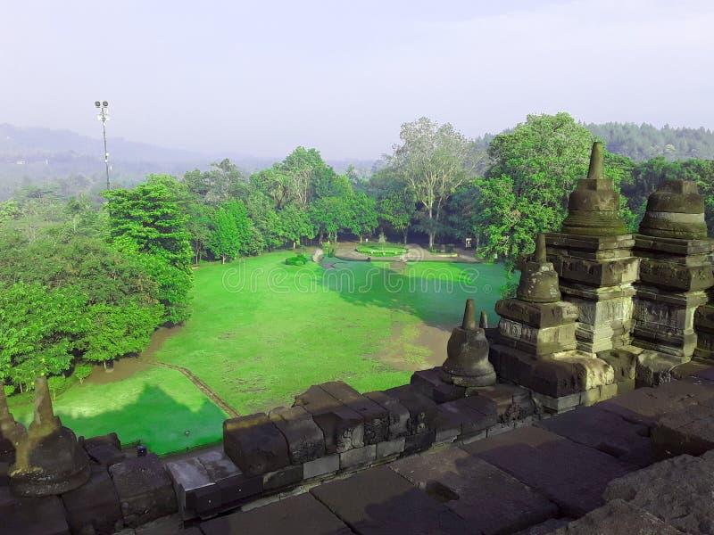 Schönes grünes Gras, Seite von borobudur Tempel, große Kultur vektor abbildung