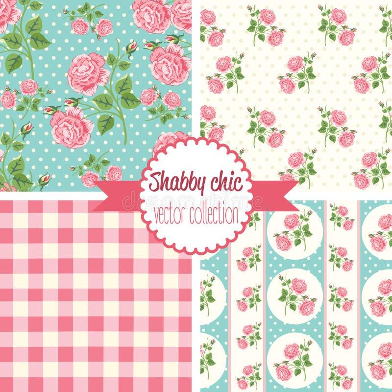 Schäbige schicke Rose Patterns Gesetztes nahtloses Muster Weinleseblumenmuster, Hintergründe stock abbildung
