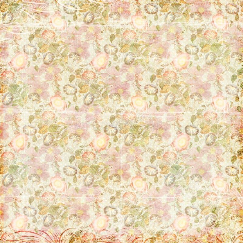 Schäbige schicke Weinlese blüht grungy mit Blumenhintergrund vektor abbildung