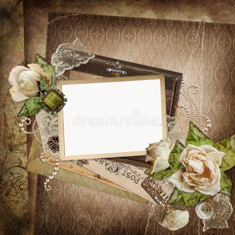 Schäbiger Hintergrund der Weinlese mit Rahmen, verblaßte Rosen, alte Buchstaben stock abbildung