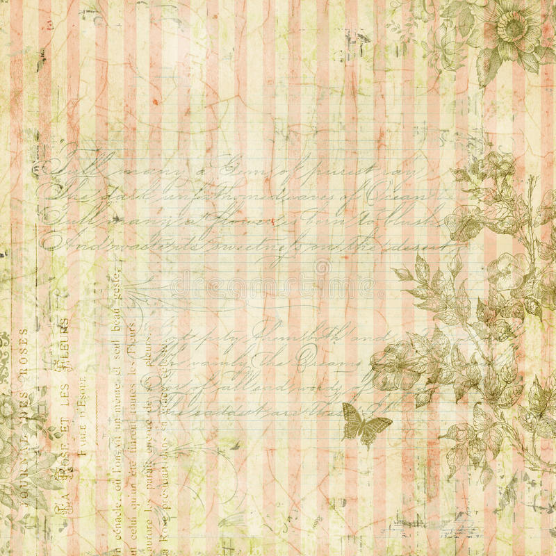 Schäbiger schicker rosa gestreifter Hintergrund der Weinlese mit Blumenrahmen und Schmetterling vektor abbildung