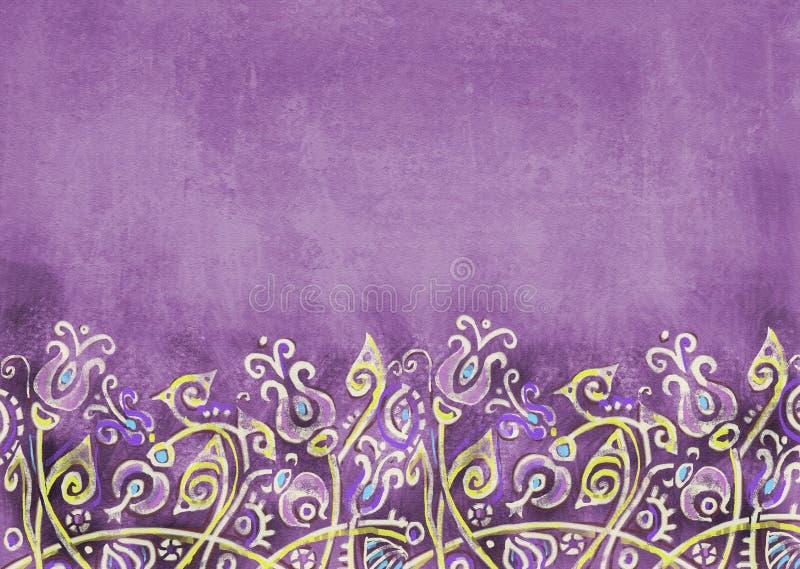 Schäbiger violetter Hintergrund mit abstrakten Blumen auf dem Hügel stock abbildung