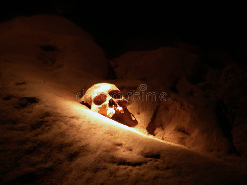 Schädel 17 in der ATM-Höhle stockbilder