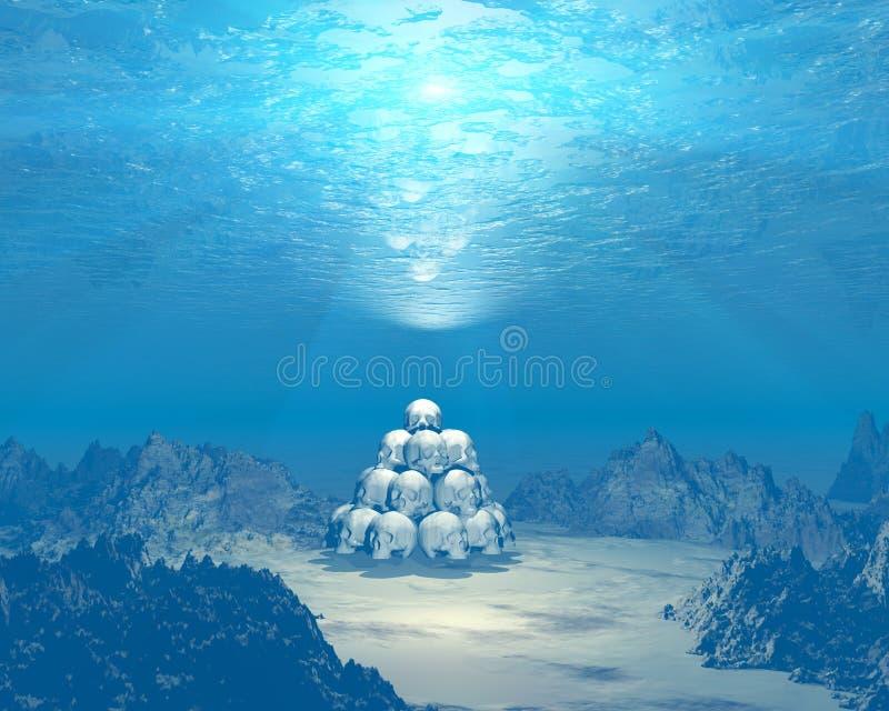 Schädel 3D Unterwasser stock abbildung