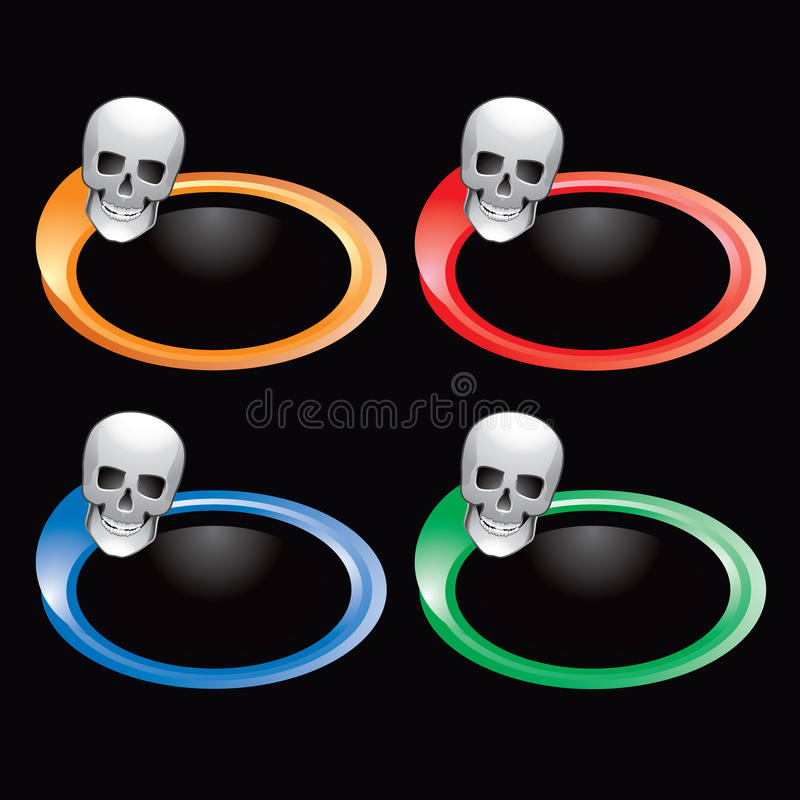Schädel auf mehrfarbigen Ringen lizenzfreie abbildung
