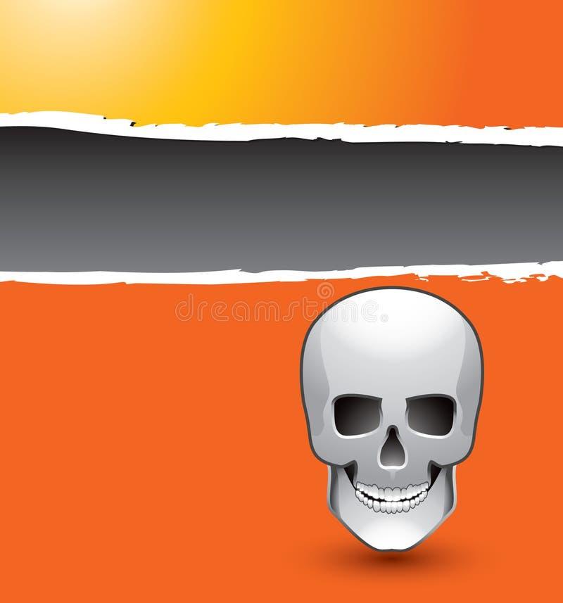 Schädel auf orange zerrissener Fahne vektor abbildung