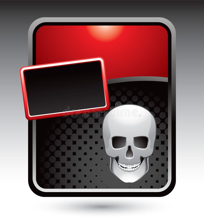 Schädel auf roter stilisiert Reklameanzeige stock abbildung