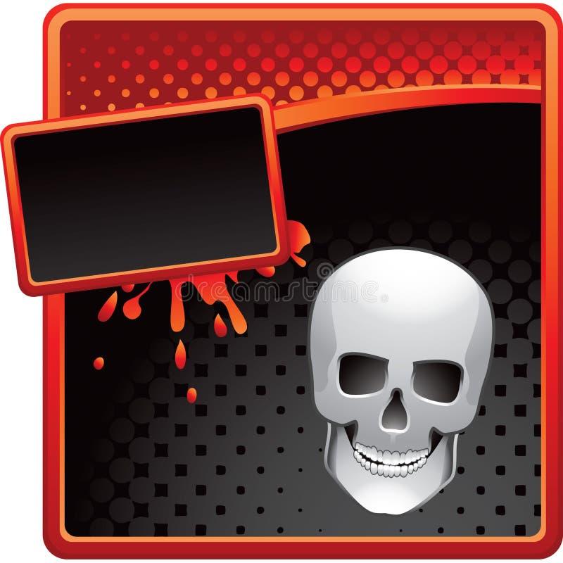Schädel auf roter und schwarzer Halbtonreklameanzeige stock abbildung