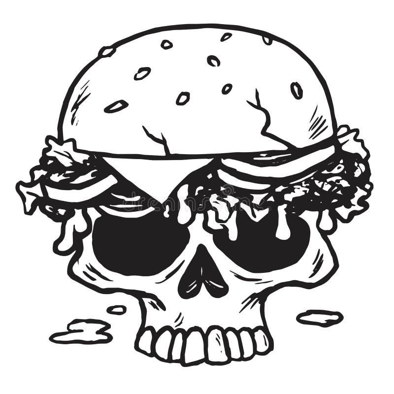 Schädel-Burger, Fischrogen-Vektor-Illustration lizenzfreie abbildung