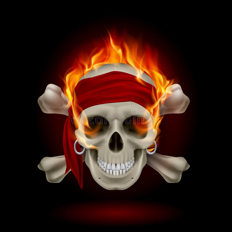 Schädel in den Flammen stock abbildung