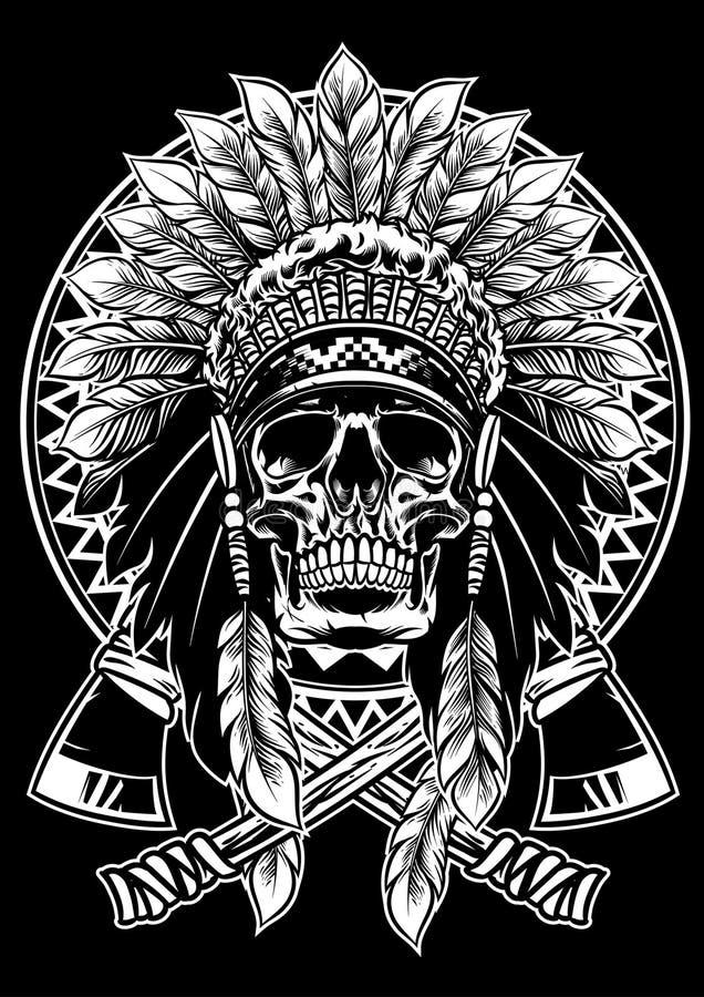 Schädel des Kriegers des amerikanischen Ureinwohners mit Kriegsbeil stock abbildung