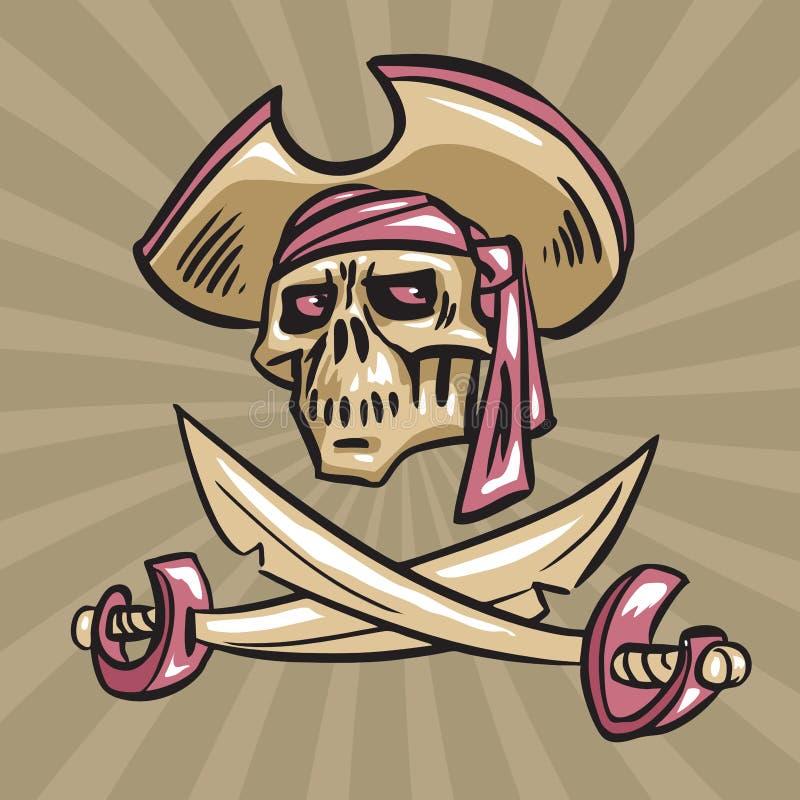 Schädel in einem Hut mit gekreuzten Klingen stockfoto