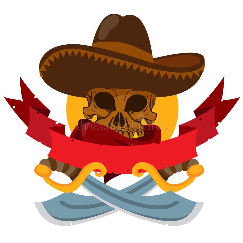 Schädel in einem Sombrero mit zwei Macheten Fahne auf mexikanischen Themen stock abbildung