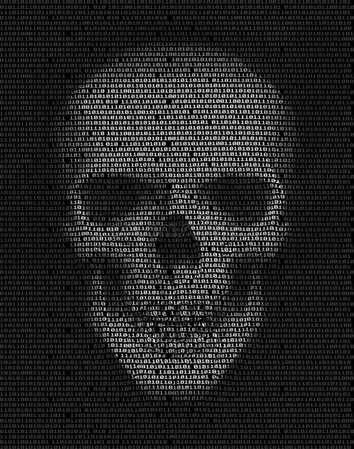 Schädel hergestellt vom binär Code Hacker, Cyberkriegssymbol stock abbildung