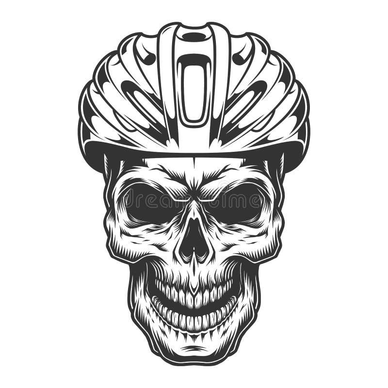 Schädel im Fahrradsturzhelm stock abbildung
