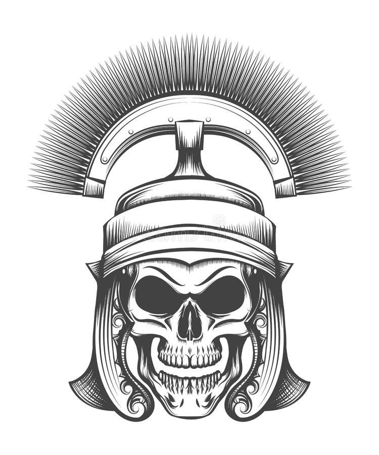 Schädel im Rom-Reich-Befehlshaber-Sturzhelm lizenzfreie abbildung