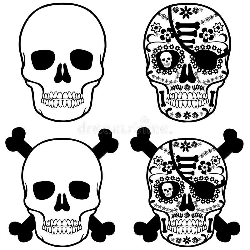 Schädel-Mexikanerpirat lizenzfreie abbildung
