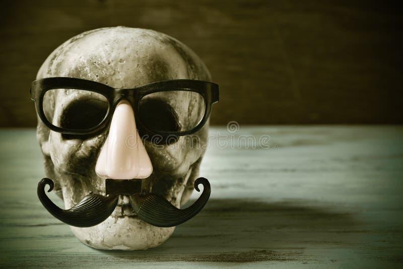 Schädel mit Brillen, gefälschte Nase und Schnurrbart, gefiltert stockfotografie