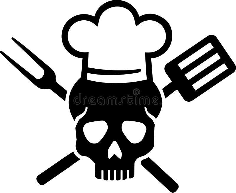 Schädel mit Chef-Hut vektor abbildung