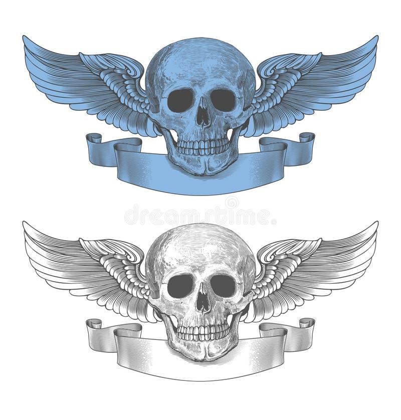 Schädel mit Flügeln und Band in der Weinlesestichart lizenzfreie abbildung
