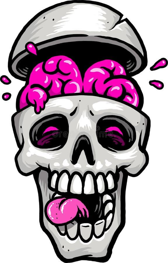 Schädel mit Gehirn heraus lizenzfreies stockbild