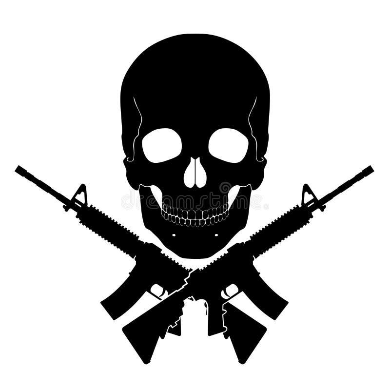 Schädel mit gekreuzten Gewehren lizenzfreie abbildung