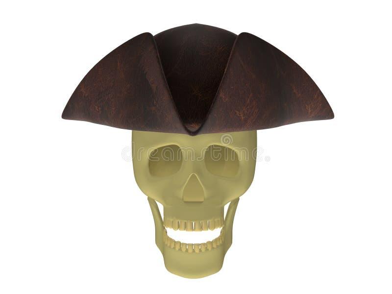 Schädel mit gespanntem Hut vektor abbildung